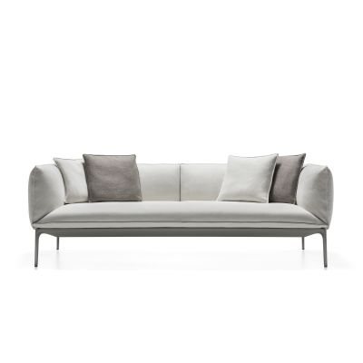Yale X Sofa, 2 Seater, Low Backrest Pelle_albicocca_R801, Anthracite Grey