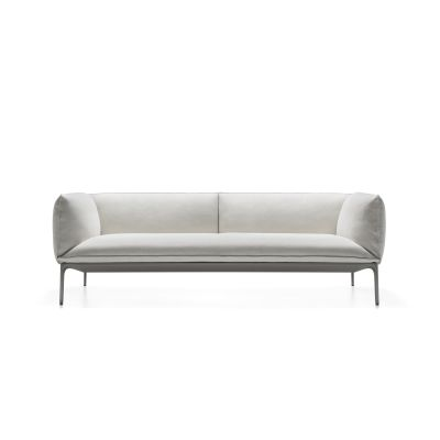 Yale X Sofa, 3 Seater, Low Backrest Pelle_albicocca_R801, Anthracite Grey, 250cm