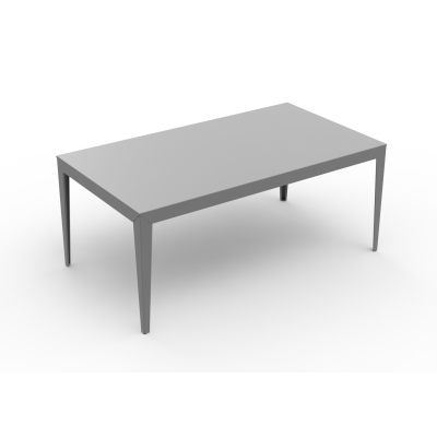 Zef Aluminium Rectangular Table 180x90 Tapered Legs, Gloss Varnish Steel - 20 RAL NA–RAW STEEL