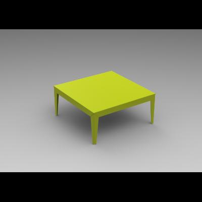 Zef Low Aluminium Square Table 100x100 Straight Legs, Matt Varnish Galva - 28 RAL NA