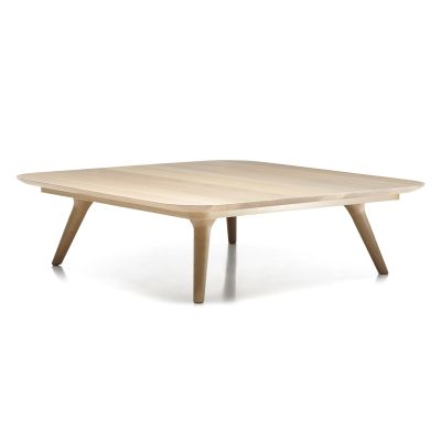 Zio Coffee Table - Square White Wash Top, Cinnamon Base