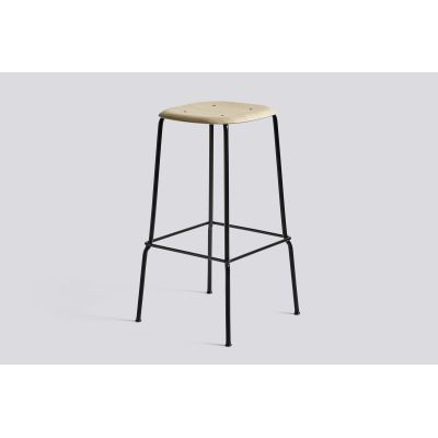 Soft Edge Bar Stool 30 with Metal Frame and Footrest Matt Lacquered Seat, Black Base, High