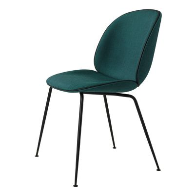 Beetle Dining Chair - Conic Base - Fully Upholstered Tyg Eros 52 Lagoon G7F7BK, Frame Brass, Black Fabric