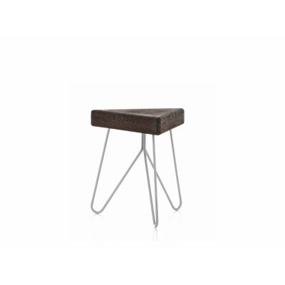 Três stool/table Dark Cork with Grey Legs