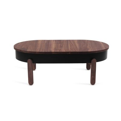 Batea L - Coffe table with storage Walnut & Black