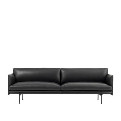 Outline Sofa - 3 Seater Leather Silk SIL0842 Black