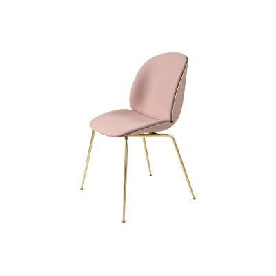 Beetle Dining Chair - Conic Base - Front Upholstered Shell Leather Silk SIL0197 Cream, Plastic Dark Pink, Frame Matt Black