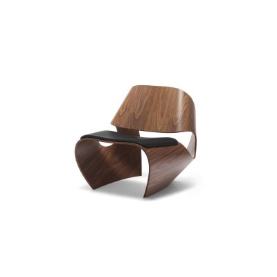 Cowrie Leather Occasional Chair Walnut with Leather Seat Pad