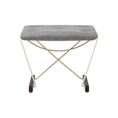 Spark Foot Stool RAL 1015 Ivory - Walnut Stained Beech - Camira MLF02