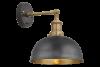 Brooklyn Dome Wall Light - 8 Inch - Pewter & Brass, Brass Holder