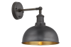 Brooklyn Dome Wall Light - 8 Inch - Pewter & Brass Pewter Holder