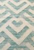 blue geometric rug close up