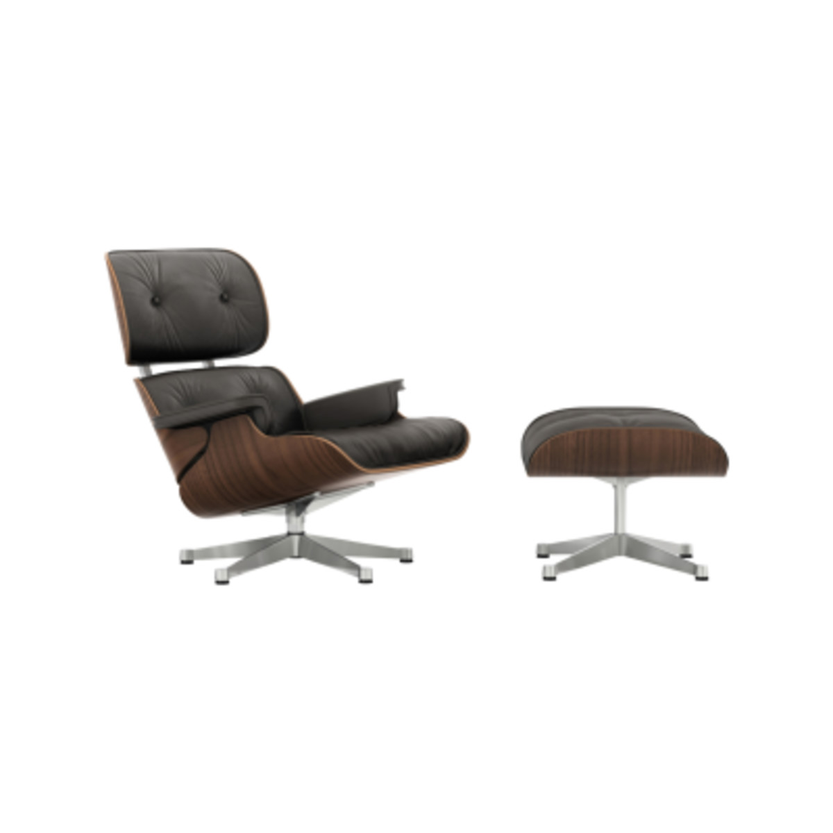 Charles Eames Lounge Stoel.Vitra Eames Lounge Chair Ottoman Santos Palisander Shell Leather