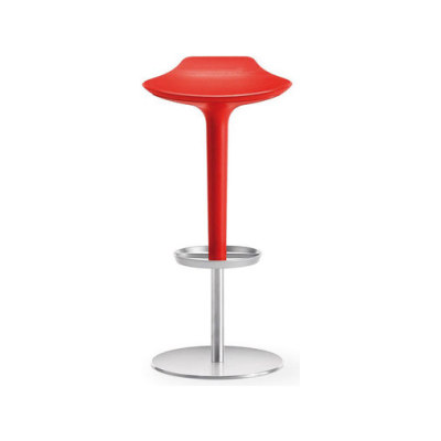 Babar | 1755 by Arper Brushed stainless steel base, Red seat