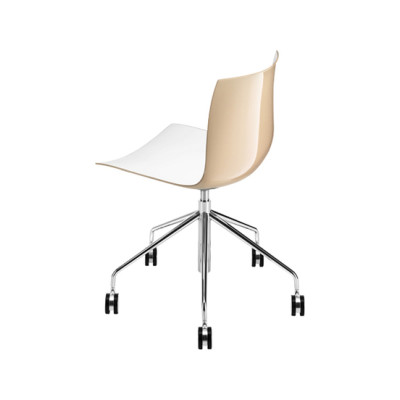 Catifa 46 | 0294 by Arper Chromed Base, White and Beige Shell