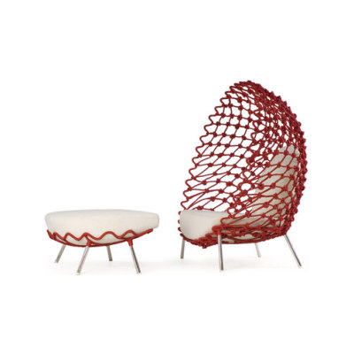 Dragnet Lounge Armchair with Ottoman by Kenneth Cobonpue