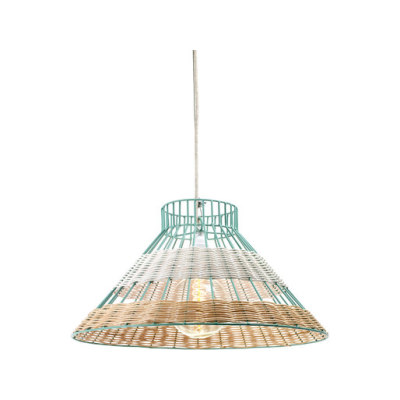 Hanging Lamp Rattan blue/white by Serax