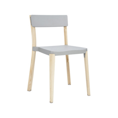 Lancaster Stacking Chair White, Light Wood Base, Off-white Seat Pad, Off-white Back Pad