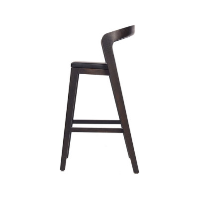Play Barstool High – Oak Stained with black calf leather cushion by Wildspirit