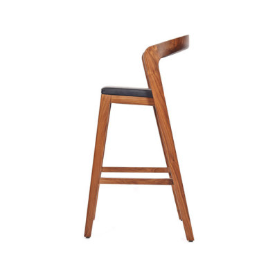 Play Barstool High – Solid American Walnut with black calf leather cushion by Wildspirit