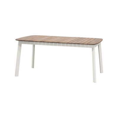Shine rectangular table with teak top; 166x100cm top Matt White