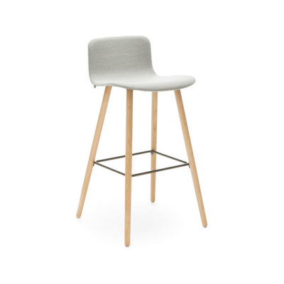 Sola barstool wooden base low backrest by Martela Oyj