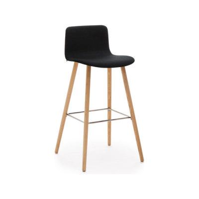 Sola barstool wooden base upholstered low backrest by Martela Oyj