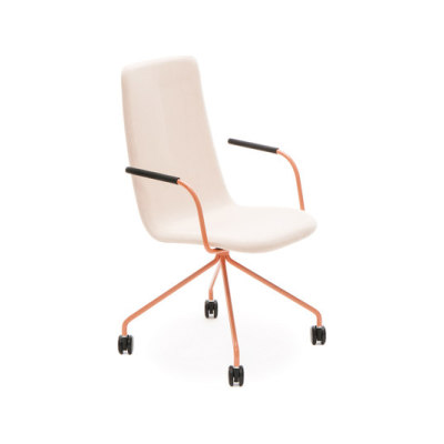 Sola conference chair with four leg base with castors high backrest by Martela Oyj
