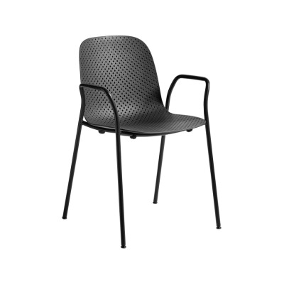 13Eighty Dining Chair with Armrests Soft Black Shell, Graphite Black Legs