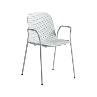 13Eighty Dining Chair with Armrests Soft Blue Shell, Pure Grey Legs