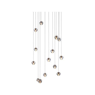 14.14 Rectangular Pendant Chandelier Amber, LED, Wet