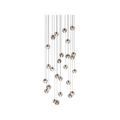 14.26 Rectangular Pendant Chandelier Amber, LED, Wet