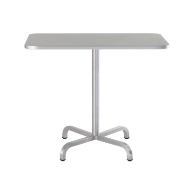20-06 Café Table Square Brushed Aluminium, Top Matt Aluminium Edge, 76 x 91 x 91 cm