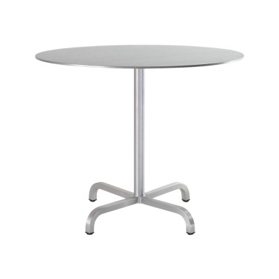 20-06 Coffee Table Round Brushed Aluminium, Top Matt Aluminium Edge, 76 x Ø91