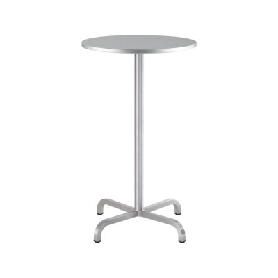 20-06 Round Bar-Height Table Brushed Aluminium, Top Matt Aluminium Edge, 106 x 75 x 75 cm