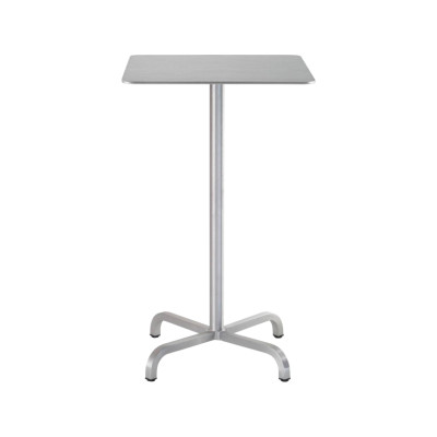 20-06 Square Bar-Height Table Brushed Aluminium, Top Matt Aluminium Edge, 106 x 75 x 75 cm