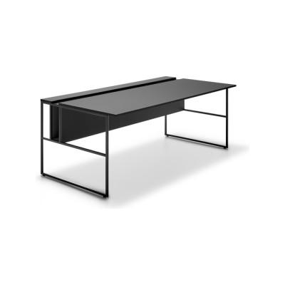 20. Venti, Single Desk Black, Graphite Grey, 200cm