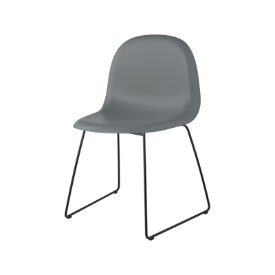 Gubi 3D Dining Chair Sledge Base - Unupholstered Gubi HiRek Rainy Grey, Gubi Metal Black