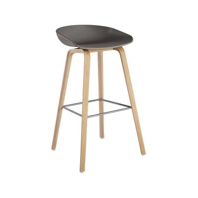 About A Stool AAS32 Matt Lacquered Oak Base, Grey Seat, High, Stainless Steel