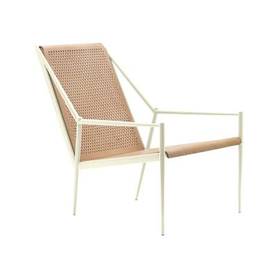 Acciaio Lounge Small Armchair Finitura Struttura Blu Ral 5012, Natural Hide
