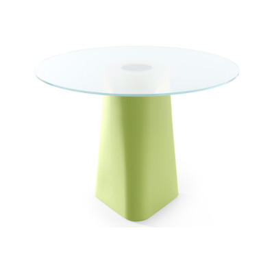 Adam Dining Table Pastel Green, White Crystal Glass