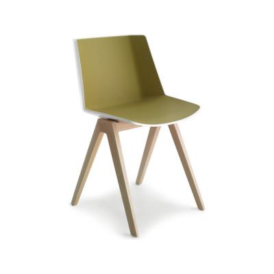 Aiku Chair, 4 Legs Oak Base Gloss Black / Military Green, Brown Oak