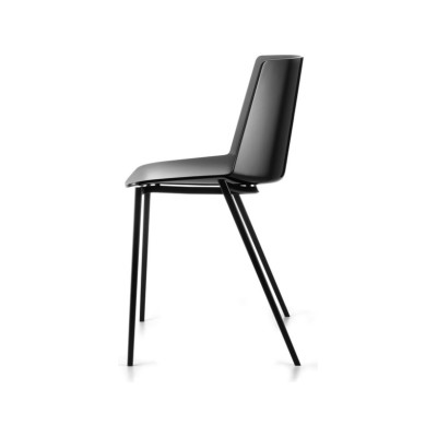 Aiku Chair, 4 Legs Tapered Base, Gloss Black Military Green, Chrome Plated