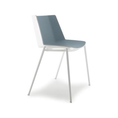 Aiku Chair, 4 Legs Tapered Base Gloss White / Dove Grey, Chrome Plated