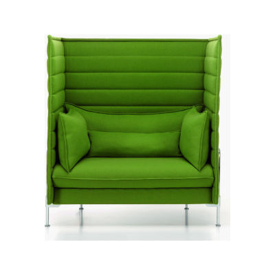 Alcove Highback Love Seat Work Upholstery, Credo 11 cream/dolphin, 01 chrome