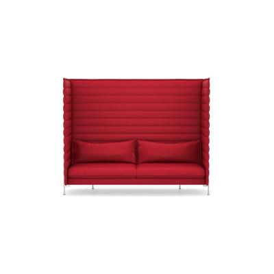 Alcove Xtra High Three-Seater Work Upholstery, Credo 11 cream/dolphin, 01 chrome