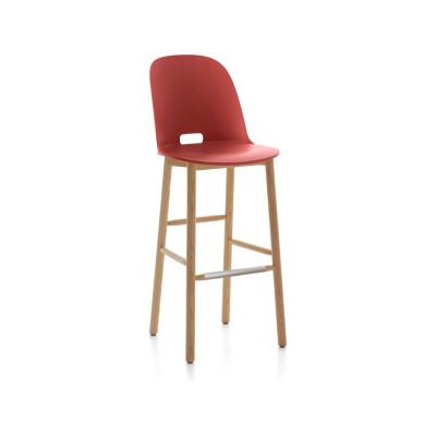 Alfi Barstool, High Back Red, Natural Light Ash Frame