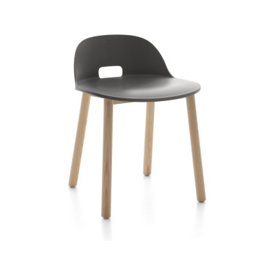 Alfi Chair, Low Back Dark Grey, Natural Light Ash Frame