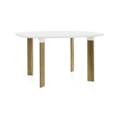 Analog Dining Table Small, White Laminate, White Trumpet/Oak
