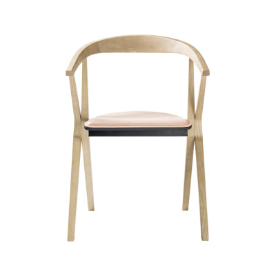 B Dining Chair with Upholstery Wood Ash - Stained Black FR10, Vintage Aged Camel V18